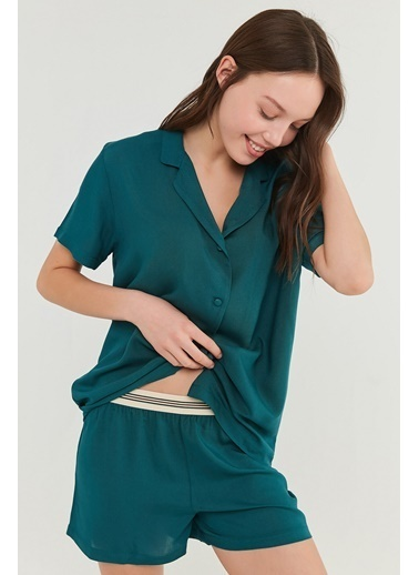 Penti Kadın Petrol Yeşili Deep Ocean Pijama Takım PN3DTRIA21IY Yeşil